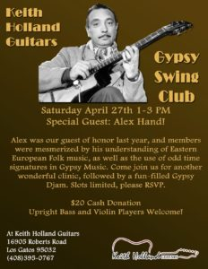 Los Gatos Gypsy Swing Club @ Keith Holland Guitars