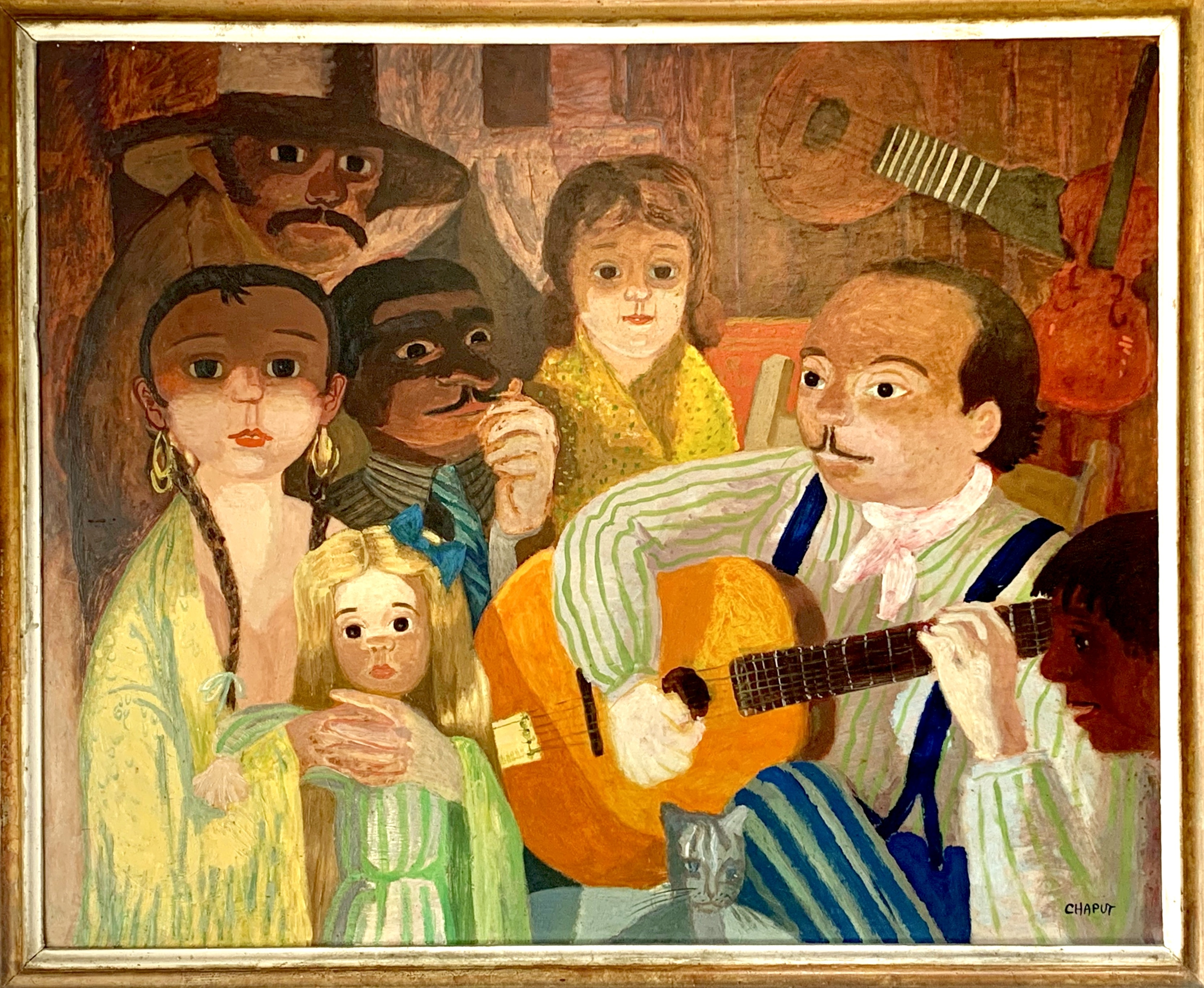 Tableau Roger Chaput Django en famille - collection Jean-Marc Soro - Photo retouchée.jpeg