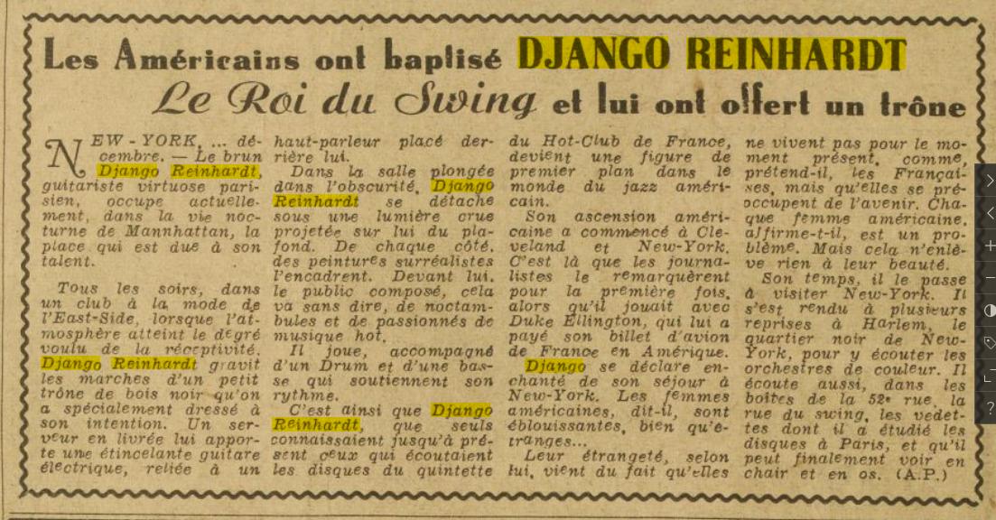 Press Ce Soir 29 DEC 1946 Django King of Swing.PNG