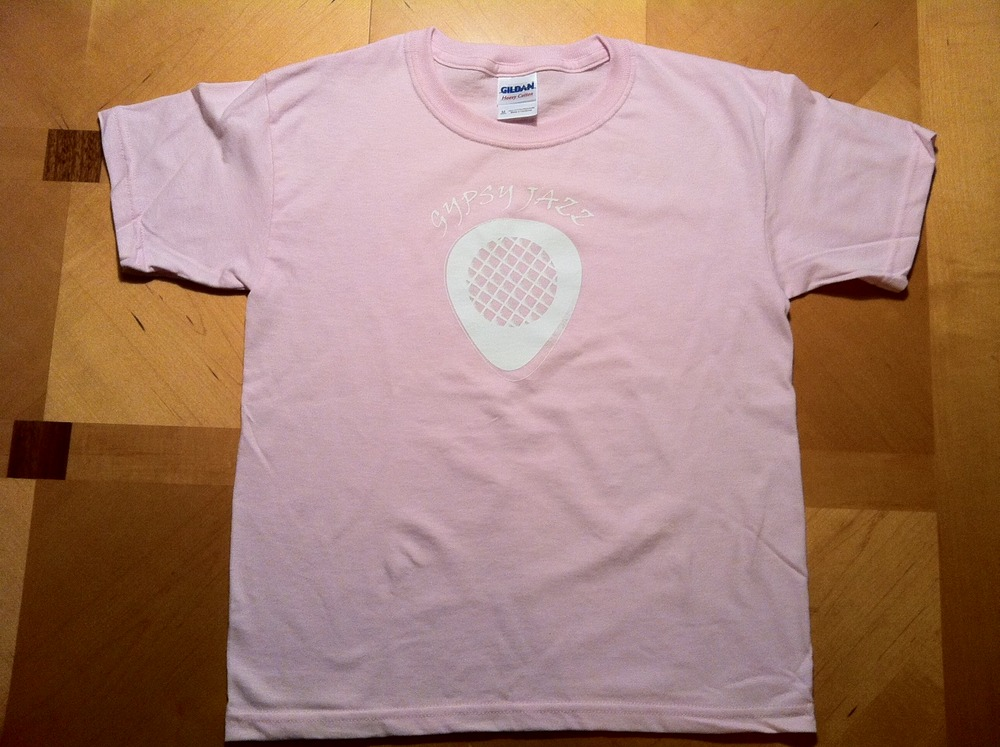 "Kid's ""Gypsy Jazz"" Guitar Pick Pink T-Shirt"