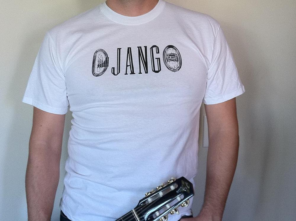 "Distressed ""DJANGO"" Gypsy Jazz White T-Shirt"