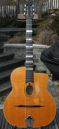 1971 Jacques Favino 14 Fret Oval Hole Guitar #187 (Enrico Macias Modele - Maple Back and Sides) with