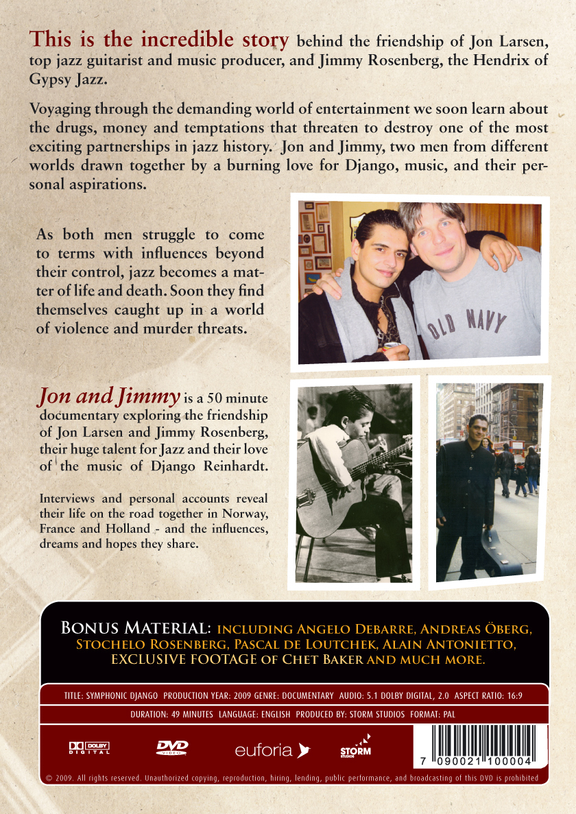 Jimmy Rosenberg Documentary -  Jon and Jimmy - Dreams, Drugs, and Django DVD (Zone 1)