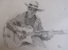 "Drawing by Tony Green - ""GREG RUBY - PEARL DJANGO GUITARIST"""