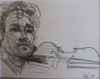 """Drawing by Tony Green - """"MANOUCHE VIOLINIST"""""""