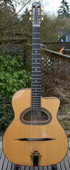 USED DELL'ARTE 14 FRET D HOLE ANOUMAN GUITAR WITH BIGTONE AND HARDSHELL CASE (RARE MAPLE BACK AND SI