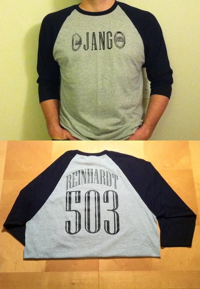 """Distressed """"DJANGO"""" Reinhardt #503 Gypsy Jazz Baseball Jersey"""