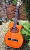 Manouche Modele Concert 12 Fret Nylon String D-Hole Guitar with Hiscox Hard Shell Case